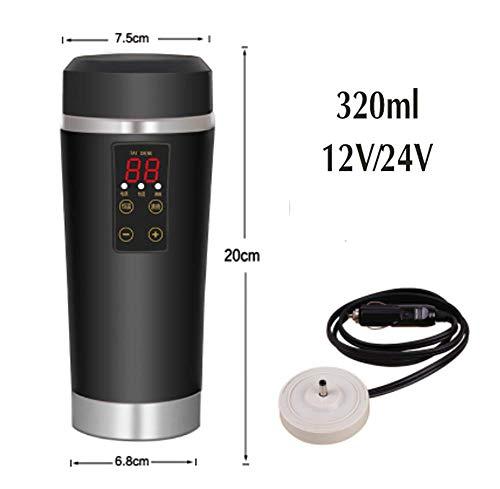 RUIX Auto Wasserkocher,Auto Elektrische Tasse, 12V / 24V Auto Universal/Digitalanzeige Heizschale/Reisen Isolierung Wasserkocher,Black