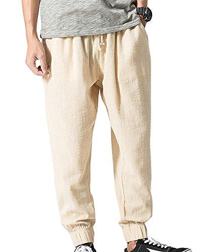 ShiFan Herren Große Größen Casual Leinen Hose Weite Hosen Mit Gummibund  Beige L b2da495bf5