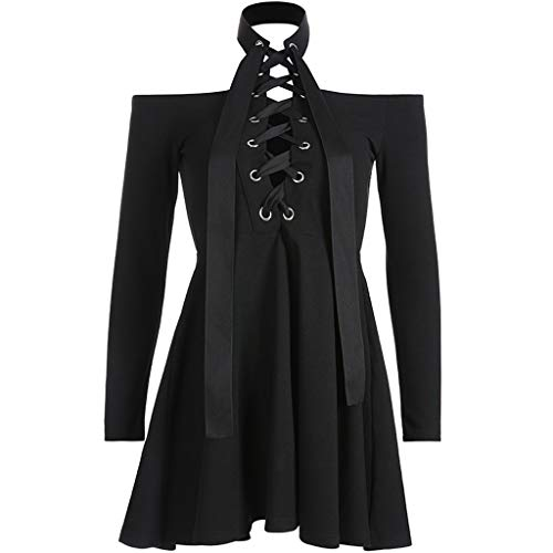 Damen Gothic T-Shirt Punk Schwarz Bluse V-Ausschnitt Choker Top Kurzarm Shirt Kleid Moon Drucken Top mit Kragen Mode Freizeit Oberteil Streetwear Briskorry