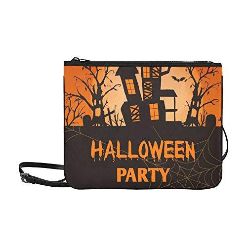 WYYWCY Halloween-Party-Einladung Grußkartenvorlage Benutzerdefinierte hochwertige Nylon dünne Clutch Crossbody Tasche Umhängetasche