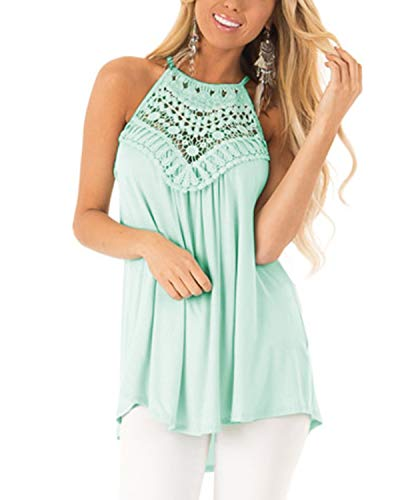 CNFIO Sexy Oberteil Damen Top Sommer Ärmellos Oberteile Crop Basic Schlinge T-Shirt Blusen Tops Basic Shirt - Frauen Dressing Weste