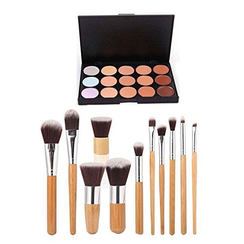 ESYN Kit 15 Palette Correcteur Couleur Avec 11pcs Bamboo Brush Maquillage Crème Contour