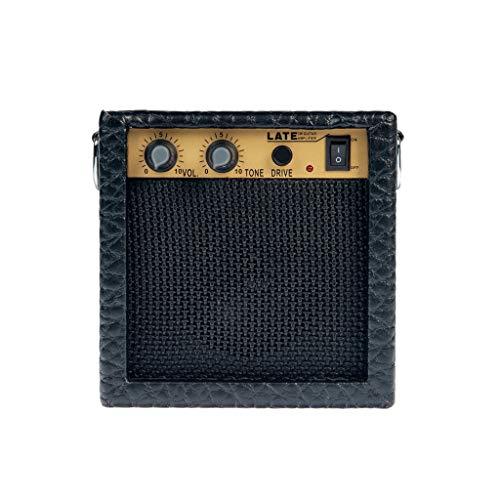 perfk Finest Mini Metal 3W Ukulele Chitarre Amplificatore Copertura In Pelle Con Cavo Accessorio Strumento Musicale - Nero