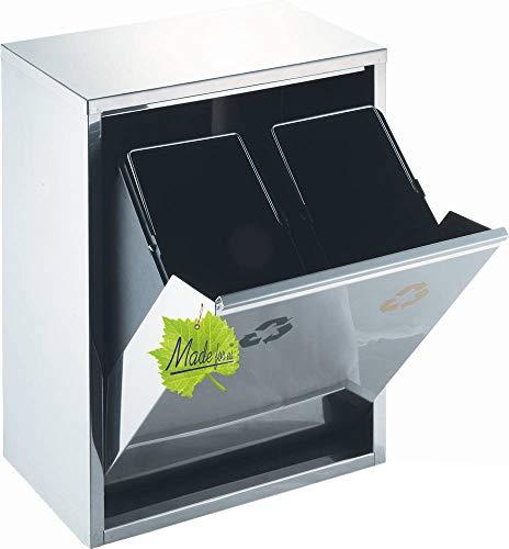 30 L Edelstahl Wand-Abfalleimer 2x15 L Mülleimer 2-fach Mülltrennung 2er Müll-Trennsystem 30 Liter Abfallsammler zur Abfall-Trennung original Made for us