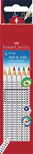 Faber-Castell 113210 - Buntstifte GRIP Heft + Tafel, 6er Etui, Inhalt: weiß, gelb, rot, blau, grün...