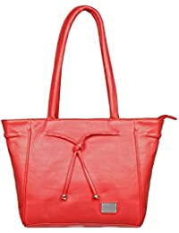LB- HandBag For Girls And Women, Durable Spacious Designer Handbags With Multi Compartments- Red Color,LB-482