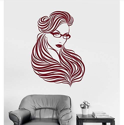 Lkfqjd Mädchen Brille Lange Haare Wandaufkleber Ungiftig Pvc Tapete Schöne Frau Schönheit Wand Tattoo Heißer Verkauf Diy Wandbild 57 * 84 Cm