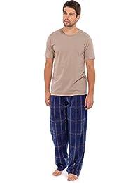 abf5336413 Mens Pyjamas Nightwear short sleeve top   Fleece pants trousers Warm Stripe