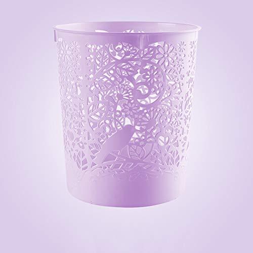 D&LE Hohle Runde Mülleimer, Kunststoff Kunststoffbehältnis Dekorative Papierkörbe Für Die Bäder Puderräume Küchen Home Büros Kreativ Papierkorb-lila 1pc-22x25cm -