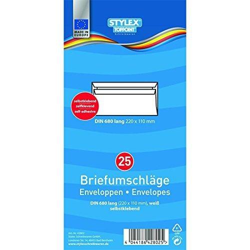 STYLEX 42802 Briefumschläge, lang, ohne Fenster, selbstklebend