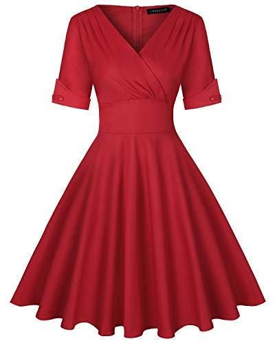 MINTLIMIT Damen Vintage V-Ausschnitt Halbe Ärmel Faltenrock Flared A-Linie Schwingen Kleid...