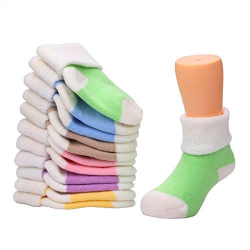 VWU Unisex Baby Socke Mädchen Junge Socken Erstlingssöckchen Anti Rutsch Dicke Manschette Baumwolle 6er Pack (1-3 Jahre, Einfarbig)