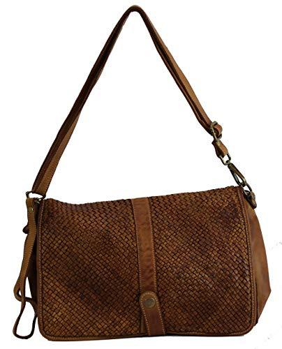 BZNA Bag Lola Cognac Italy Designer Clutch Umhängetasche Damen Handtasche Schultertasche Tasche Leder Shopper Neu