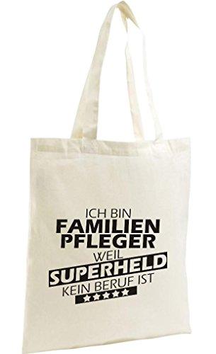 Shirtstown Shopping Bag Organic Zen, Shopper Ich bin Familien Pfleger, weil Superheld kein Beruf ist, natur