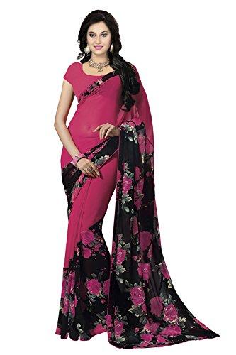 Ishin Georgette Saree (Ishinsbr-11121_Pink & Black)