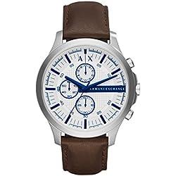 Armani Exchange Hampton - Reloj análogico de cuarzo con correa de cuero para hombre, color marrón/blanco