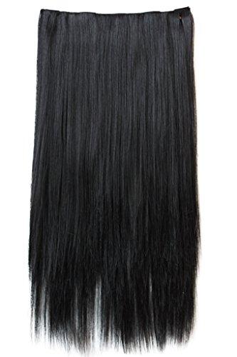 Prettyshop xxl 5 clips one piece di clip in extension parrucche dei capelli lisci a pelo lungo 70 cm nero # 1 c51a
