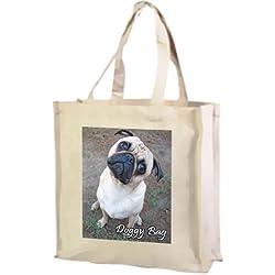 CARLINO algodón bolsa de la compra, color crema
