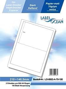 LabelOcean LO-0002-a-70, 200 Etiketten 210x148,5mm, 100 Blatt DIN A4, 70g/qm, geeignet für Inkjetdrucker-, Laserdrucker und Kopierer.