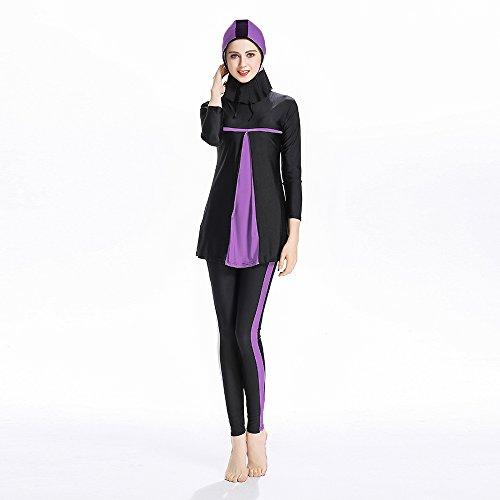 ziyimaoyi Muslim Bademode Frauen zurückhaltenden Badeanzug Beachwear Islamische Schwimmen Kleidung für Mädchen Hijab, violett