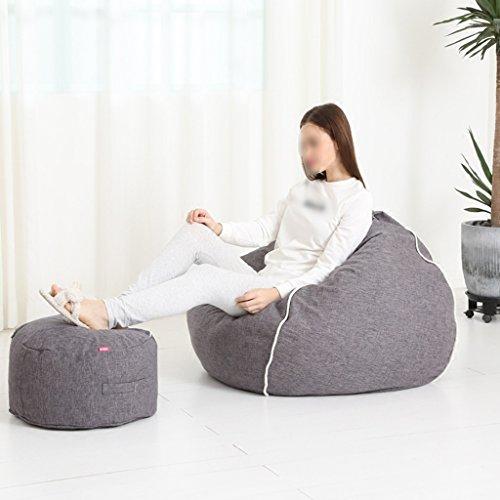 2 Pièces Haricot Sac Repose-pieds Canapé Canapé Chambre Salon Chaise Unique Amovible Lavable 80 * 90 cm (Couleur : Gris foncé)