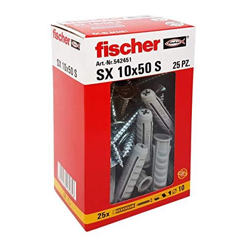 Fischer 542451tacos con tornillo Izquierda, Gris, 10x 50mm, juego de 25piezas