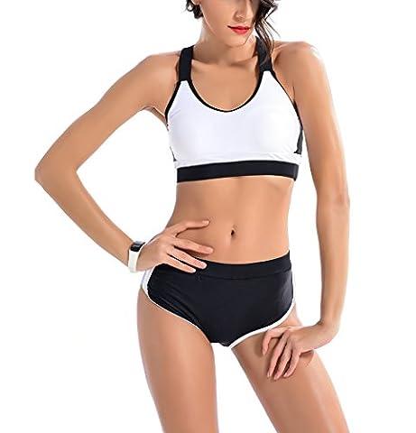 SOMMRY Bikini Set zweiteilig Schönes Push up reizvolle Schwimmanzug Frauen Sport Tankini Mädchen Bademode Strand Schwarz Weiß Badeanzüge Oberteile und Höschen (Ohne Bügel) (Pink Boxer-mädchen-kostüm)