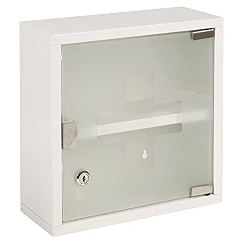 Wall Mounted Lockable Stainless Steel Medicine Cabinet With 2 Shelves & Frosted Glass Door (Approx. 30 x 12.5 x