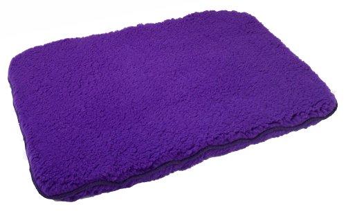 Unreal Hundebett aus Lammfell, Kunstfleece, Braun, 18x24, violett