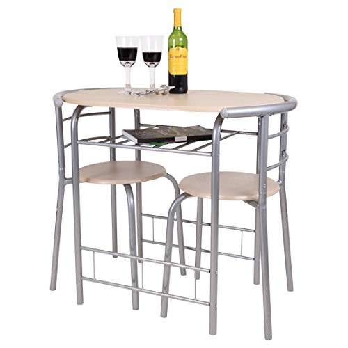 CHICAGO 3 PIECE DINING TABLE AND 2 CHAIR SET. BREAKFAST, KITCHEN, BISTRO, BAR (Light Oak)
