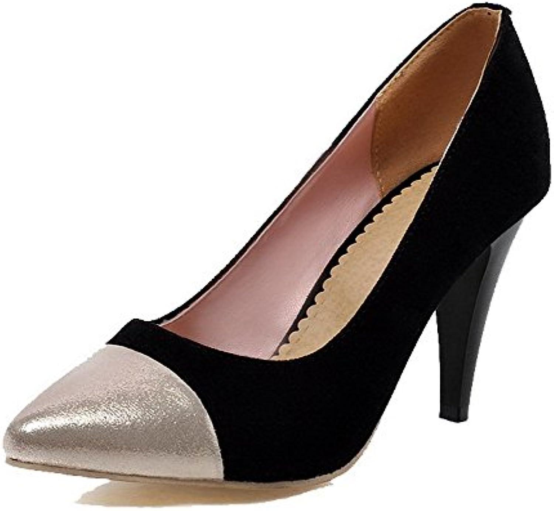 AalarDom Damen Weiches Material Gemischte Farbe Hoher Absatz Pumps Schuhe