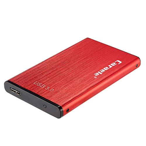 Almencla Tragbare 500 GB SSD Externe Festplatte (2,5 Zoll), USB-3.0-Anschluss, Kompatibel mit Desktop, PC, Laptop, Rot Farbe -