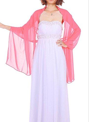 Dressystar Chiffon Stola Schal für Kleider in verschiedenen Farben Koralle 160cm*50cm