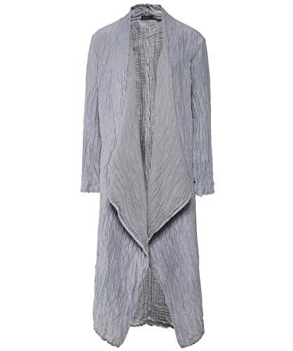 Grizas Women's Linen and Silk Blend Crinkled Long Jacket Grey L XL