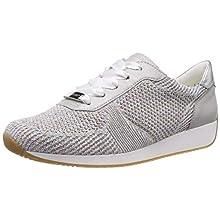 ARA Women's LISSABON 1224027 Sneaker, White (Candy-Weiss,Sasso/Silber 21), 7 UK