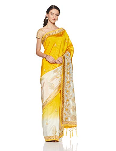 Aalia Art Silk Saree With Blouse Piece (11015!_Yellow, Cream!_One size)