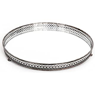 25 cm Silver Mirror Glass Candle Plate Tray