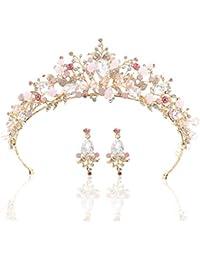 Zoestar - Corona de Boda con Pendientes de Cristal Rosa para Novia, Tiara de Princesa con Diamantes de imitación, Accesorio para el Pelo de Boda para Mujeres y niñas