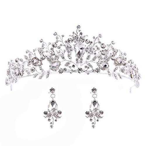 ZYUEER Elegante Krone Gefüllt Mit Zirkon Blume Stirnband Stirnband Ohrringe Damenschmuck