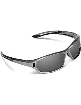 Ewin E31 Gafas de Sol de Deporte Polarizadas, UV400 Protección, Gafas Irrompibles (Plateado y Gris)