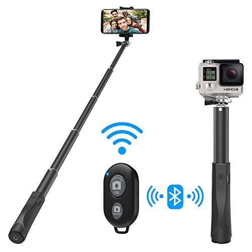 MoKo Selfie Stick mit Fernbedienung, Leichtes Gewicht Twist & Lock ausziehbares Einbeinstativ aus Aluminium, Drahtloser Fernauslöser, Verstellbare Selfie-Stange für iPhone XS/XS Max/XR, Schwarz