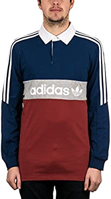Adidas Rugby Nautical Polo Shirt Mystery Red/Mystery Blue/Medium Grey Heather/White
