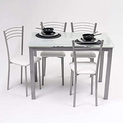 Conjunto de mesa de cocina extensible + 4 sillas - Paris