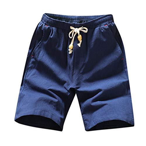 Eaylis-herren-shorts Sommer Einfarbige Shorts Aus Baumwolle Und Leinen Mit Kordelzug -