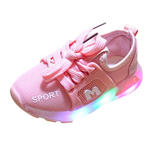 Heligen_Baby Shoes Abstand Unisex-Kinder LED Sneakers Mode Blinkschuhe Low-Top Casual Outdoor Sneakers Laufschuhe Sportschuhe Hallenschuhe für Jungen und Mädchen Größe 21-30 (Schuhe Mädchen Abstand)
