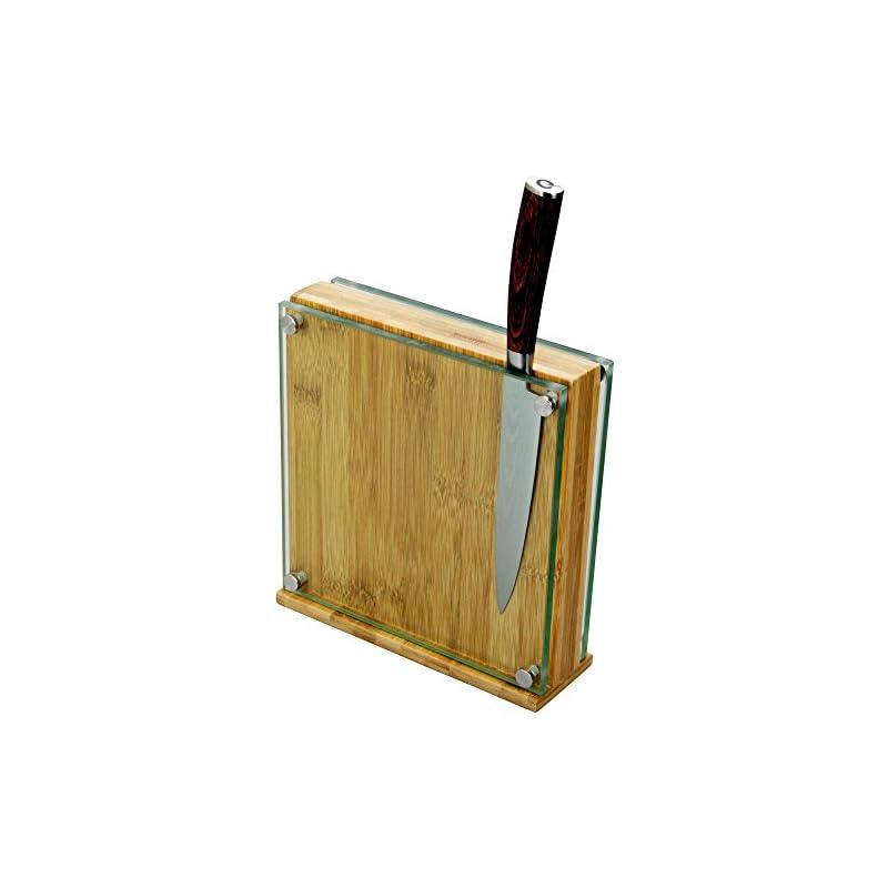 Magnetischer Messerblock Aus Bambus Und Glas