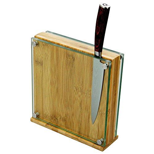 Ceppo Portacoltelli Magnetico, Blocco Portacoltelli in Bambù / Vetro (per 8-10 Coltelli)