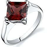 Revoni Striking 2.00 carats Garnet Engagement Ring in Sterling Silver