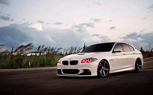 Yutirerly White Car BMW 5 Tuning Angel Eyes Red LEDs Print Poster 17x13