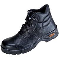 Tiger Men's High Ankle Leopard Steel Toe Safety Shoes (Size 10 UK, Black, Leather )